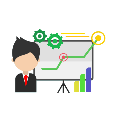 Graphic showing man in front of business analysis charts.