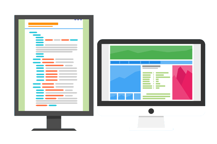Dual screen coding for web development.