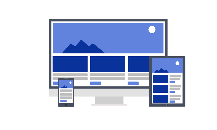 Different devices with building blocks for responsive web design using WordPress and other page builders.
