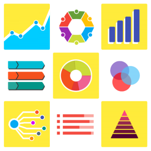 Different charts, infographics and diagrams.
