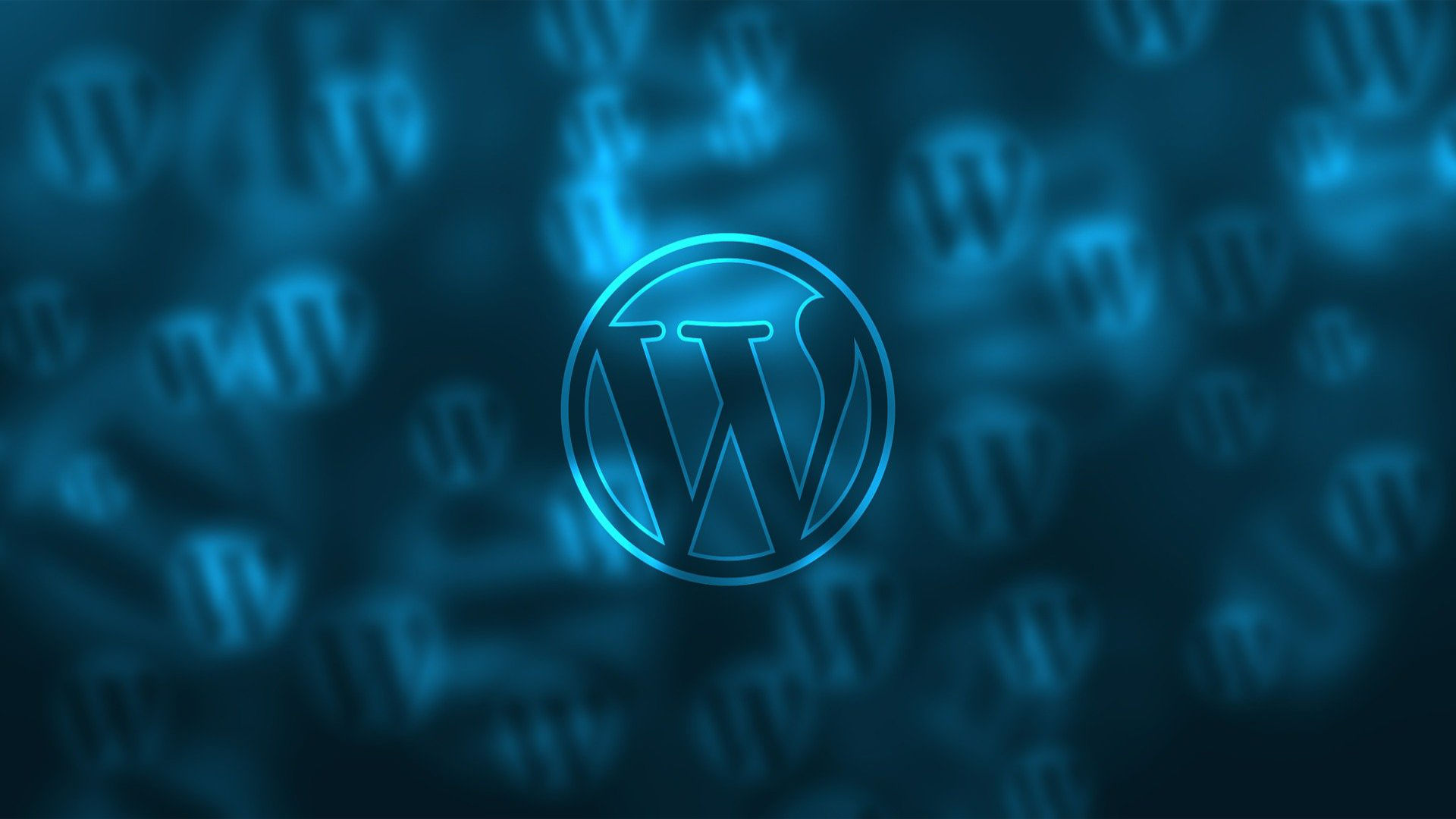 WordPress logo on blue background.